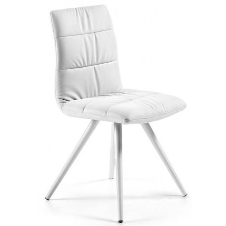 Silla comedor Lark 2 blanca, tapizada en simil piel, patas blancas